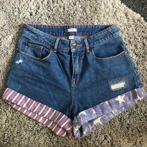 Roxy American Flag High-Waisted Jean Shorts